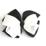 Two Tone Boutique Bows BLACK WHITE
