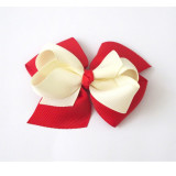 Two Tone Boutique Bows RED IVORY