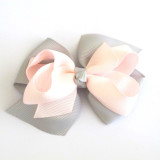Two Tone Boutique Bows SILVER ICY PINK