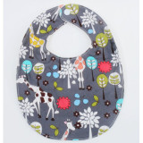 The Essential Bib in GREY GIRAFFE GARDEN