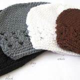 Celestina Crochet Beanie BLACK GREY WHITE CHOCOLATE