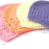 Celestina Crochet Beanie PINK PEACH YELLOW LAVENDER