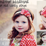 Spinkie Lovely Ribbon Headband RED CANDY STRIPE