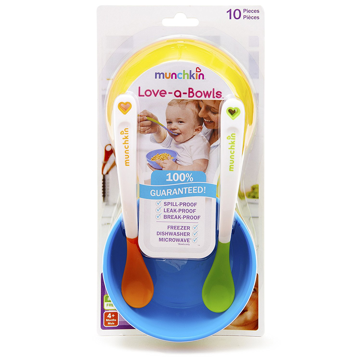 Baby And Beyond Munchkin Love A Bowls 10 Piece Set Easy Squeezy Spoon Utensils